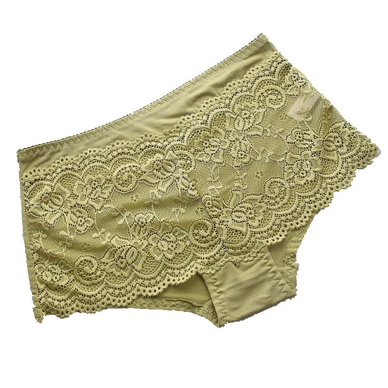4条装女士内裤蕾丝性感无痕三角裤头中低腰比纯棉舒适少女式内裤_领取25元淘宝优惠券