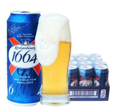 听装包邮 12 500ml 黄啤 1664 法国原装进口啤酒 月 10 年 19 到