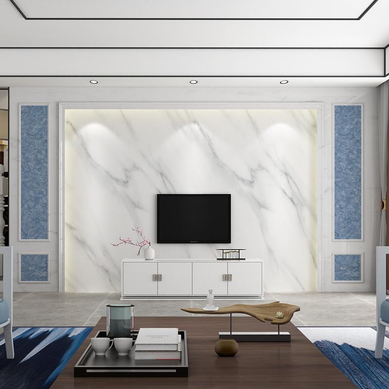 蓝色大理石纹背景墙壁纸现代简约墙纸客厅影视墙装饰壁画