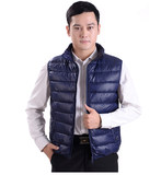 Young fashion winter warm cotton vest male stand-up collar Slim thick cotton vest handsome slim down cotton waistcoat
