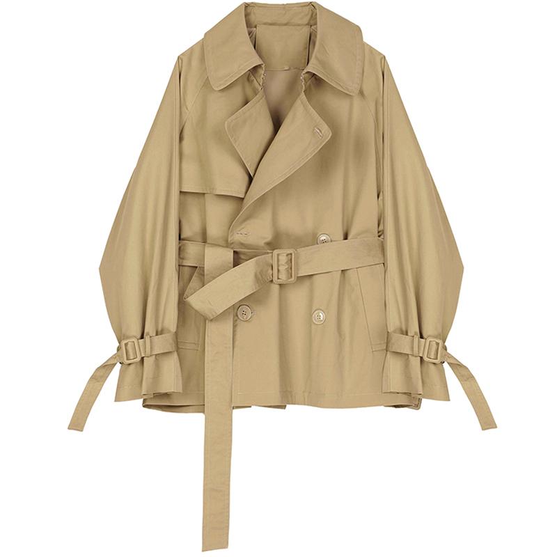 【现货】风衣女短款秋款韩版宽松西装领系带休闲外套