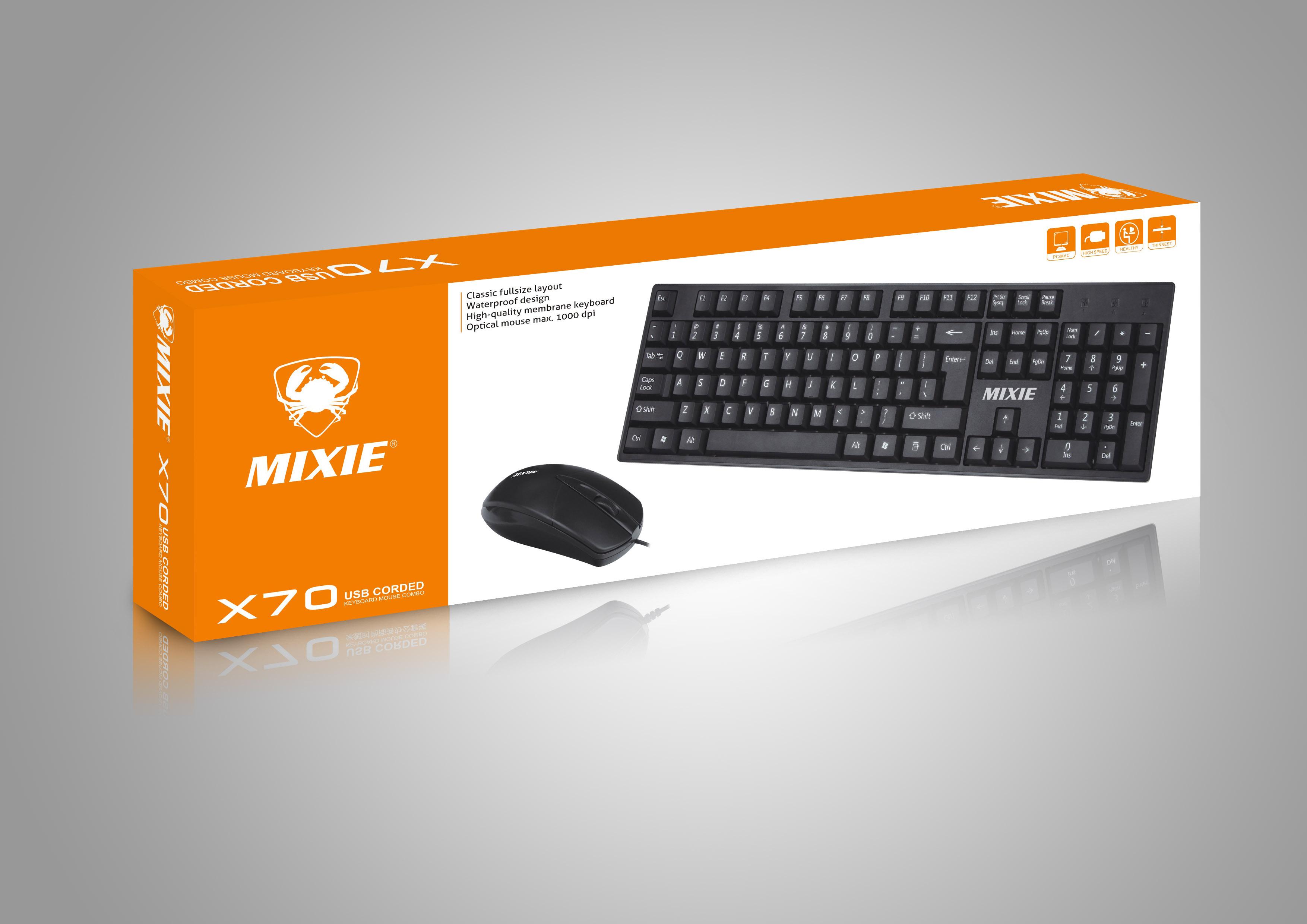 米蟹X6 X7 USB有线键盘X70游戏办公家用台式机电脑笔记本键鼠套装