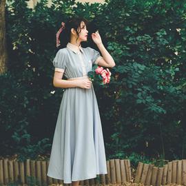 弥爱原创 薄荷糖 法式复古少女学院撞色连衣裙夏新泡泡袖高腰长裙