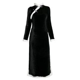 弥爱原创 浮生若梦 复古中式改良旗袍年轻款冬丝绒毛毛长款连衣裙