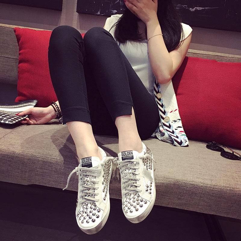韓版真皮小白鞋春做舊星星鞋鉚釘小髒鞋女繫帶運動休閒鞋女板鞋潮