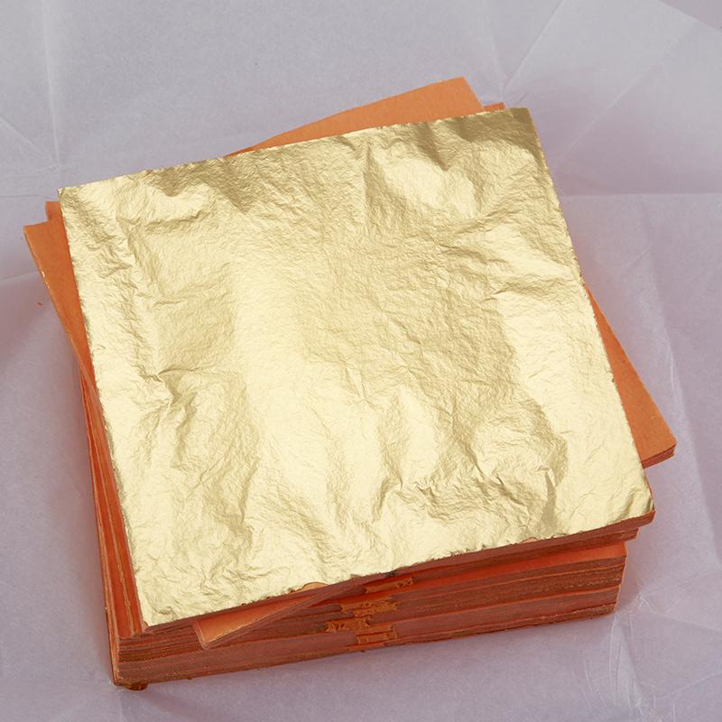 金线牌金箔 高档装修贴箔墙纸14x14cm 进口优质红纸抓皱金箔纸