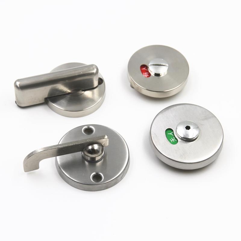 锁扣 不锈钢加厚有无人指示锁厕所隔断门锁 304 公共卫生间隔断配件
