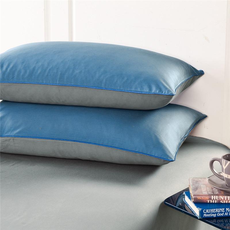 南极人全棉1.8m床上用品纯棉双拼款简约纯色1.5米床品被套四件套