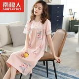 Cotton short-sleeved summer dress middle-aged middle-aged mother modal nightgown female pajamas thin section loose big yards