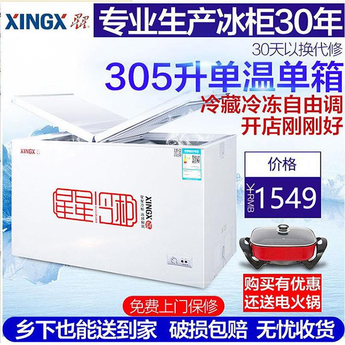 XINGX/星星 BD/BC-305EH商用大容量冰櫃單溫冷櫃冷藏冷凍櫃玻璃門