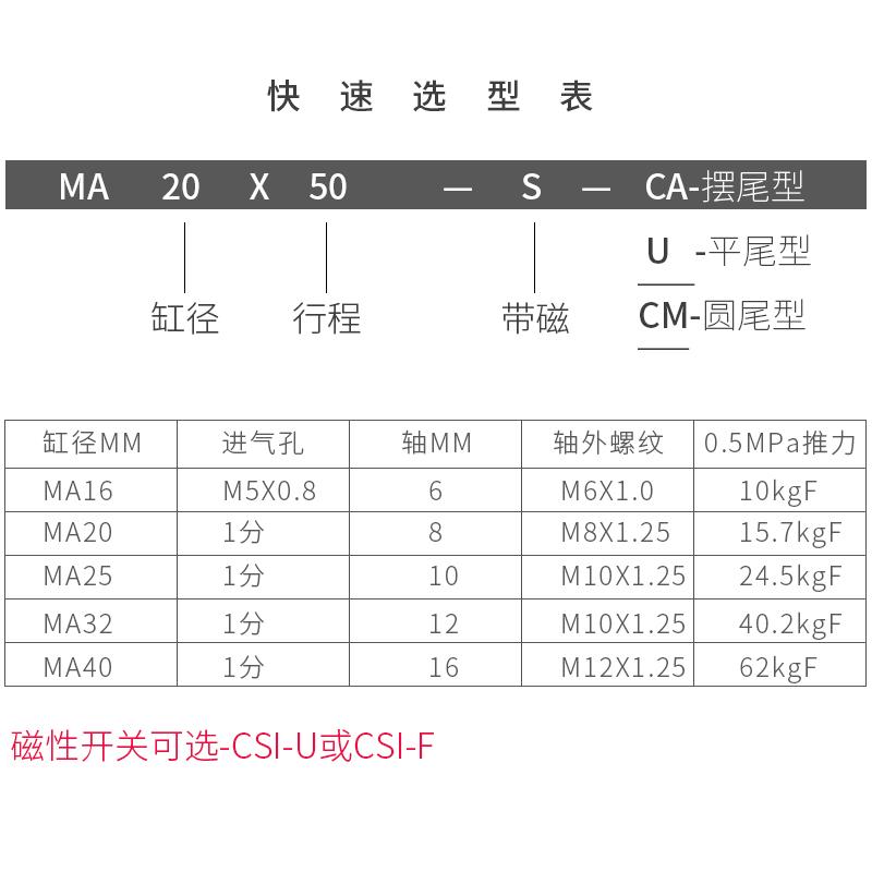 亚德客型不锈钢 气缸 小型气动MA20X75X100X125X150x200x300-S-CA