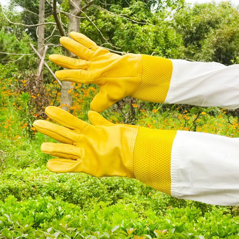 蜂具防蜂手套加厚透气柔软羊皮手套帆布防蜂蛰养蜂专用防蜜蜂手套