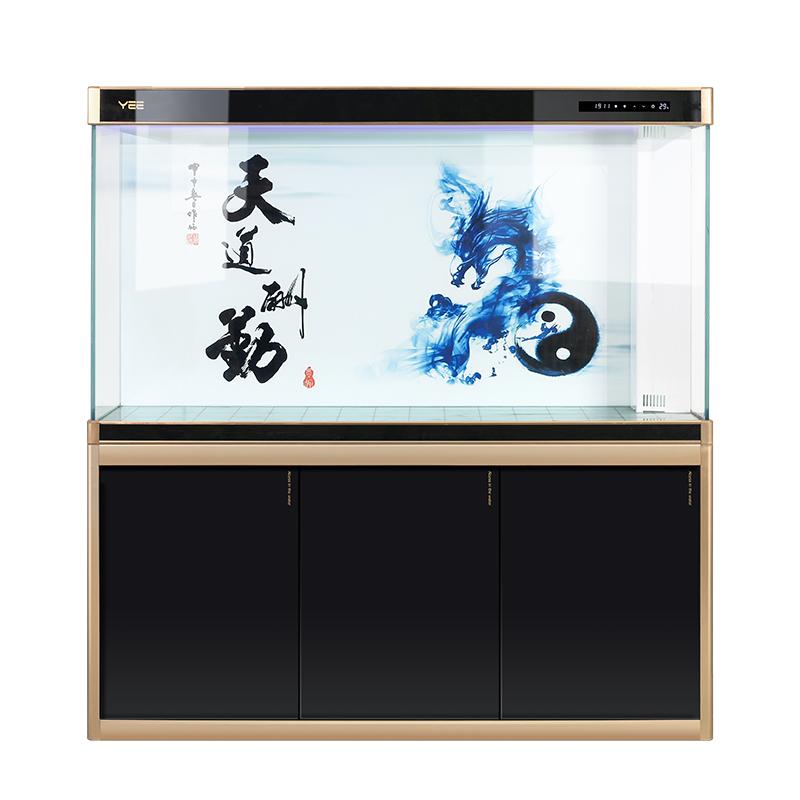 YEE超白鱼缸玻璃龙鱼缸客厅家用大型中型水族箱屏风免换水底过滤