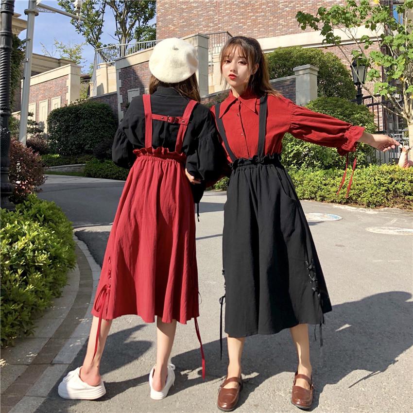 春装女2019新款纯色系带长袖衬衫+高腰中长款背带半身裙女闺蜜装