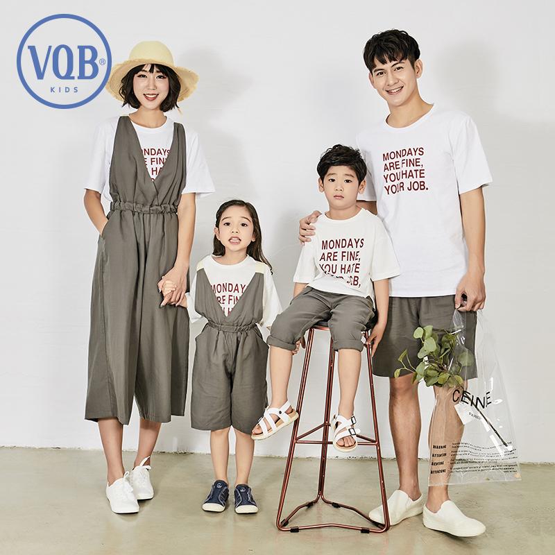 网红高端亲子装一家三口夏装母子装母女装2019新款潮洋气棉麻套装
