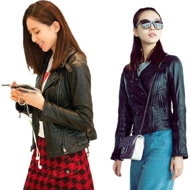刘诗诗同款外套皮衣女短款皮夹克休闲上衣春秋装机场街拍大码新品