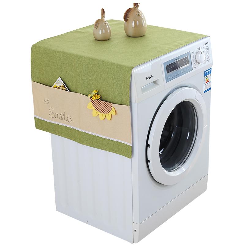 布艺洗衣机盖巾布简约现代欧式带收纳袋多用盖巾韩版冰箱防尘罩布