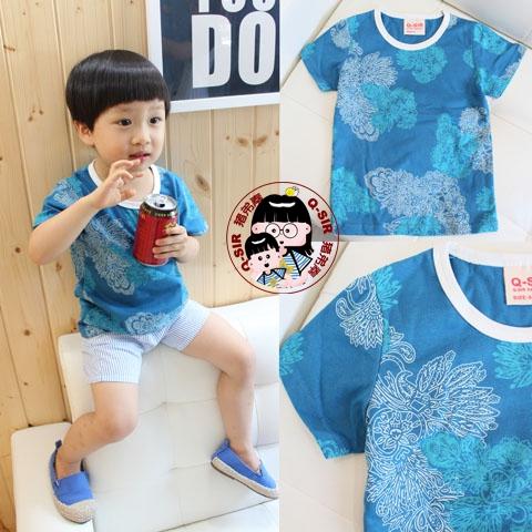 豬弟秦原創設計夏裝新款全棉男女寶寶嬰幼兒童短袖T恤純棉T恤