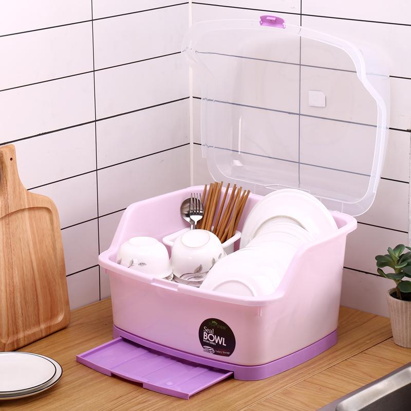 碗柜塑料厨房放碗架沥水架装碗筷家用碗碟收纳盒餐具带盖箱置物架