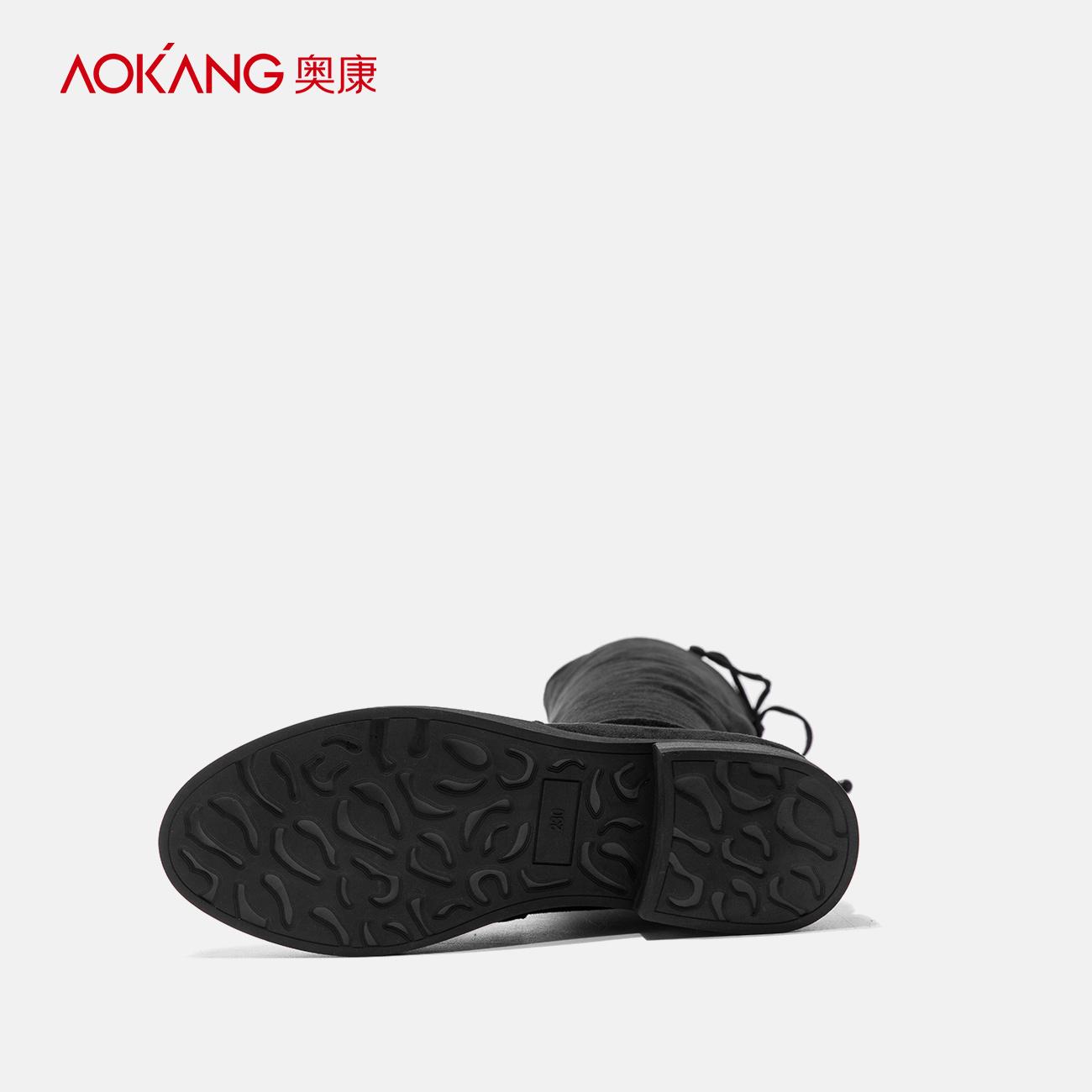 奥康女鞋冬季绒面简约纯色女靴时尚套筒过膝靴低跟舒适长筒弹力靴