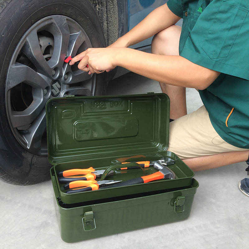 家用维修 军绿金属多功能汽修大号中号铁皮手提箱 绿林五金工具箱