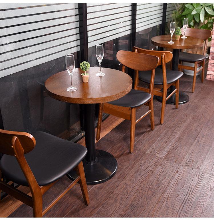 简约咖啡厅实木桌椅组合西餐厅实木方桌椅快餐厅餐饮店实木餐桌椅