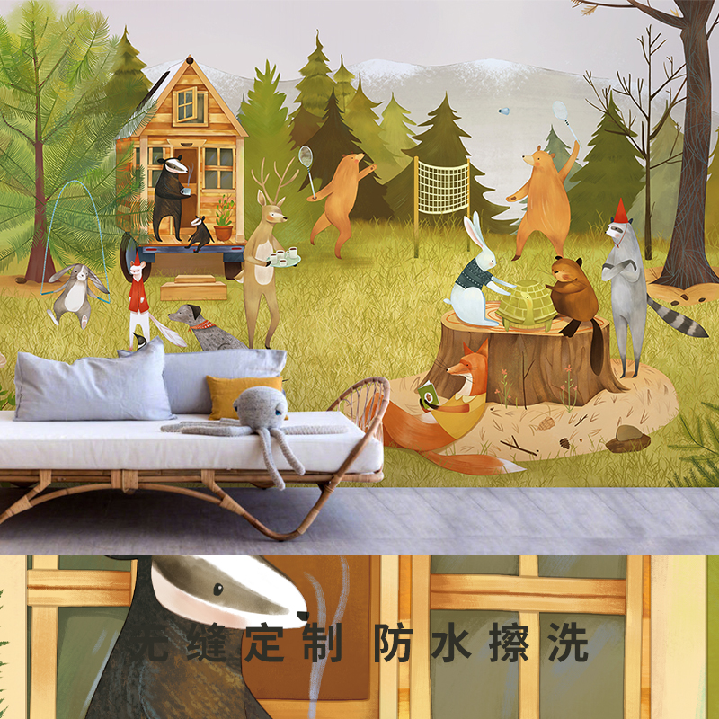 风儿童房墙纸手绘插画壁纸男孩女孩卧室墙布背景墙 ins 良印小森林