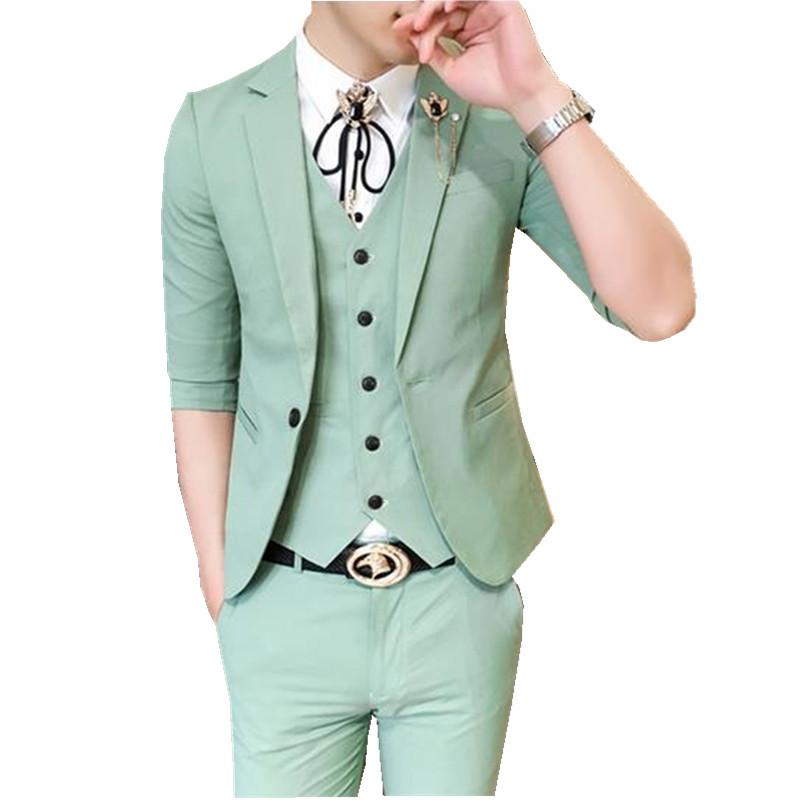 夏发型师酒店工装男七分袖西装马甲衬衫九分裤四件套修身西服套装
