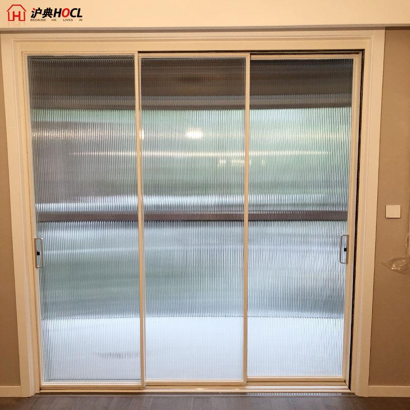 上海长虹玻璃窄边移门推拉门客厅开放式吊轨门黑色16细边框玻璃门