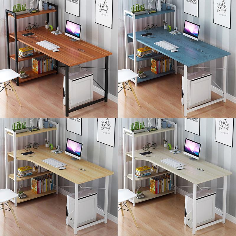 电脑台式桌家用简约现代办公书桌书架组合简易卧室学生写字小桌子