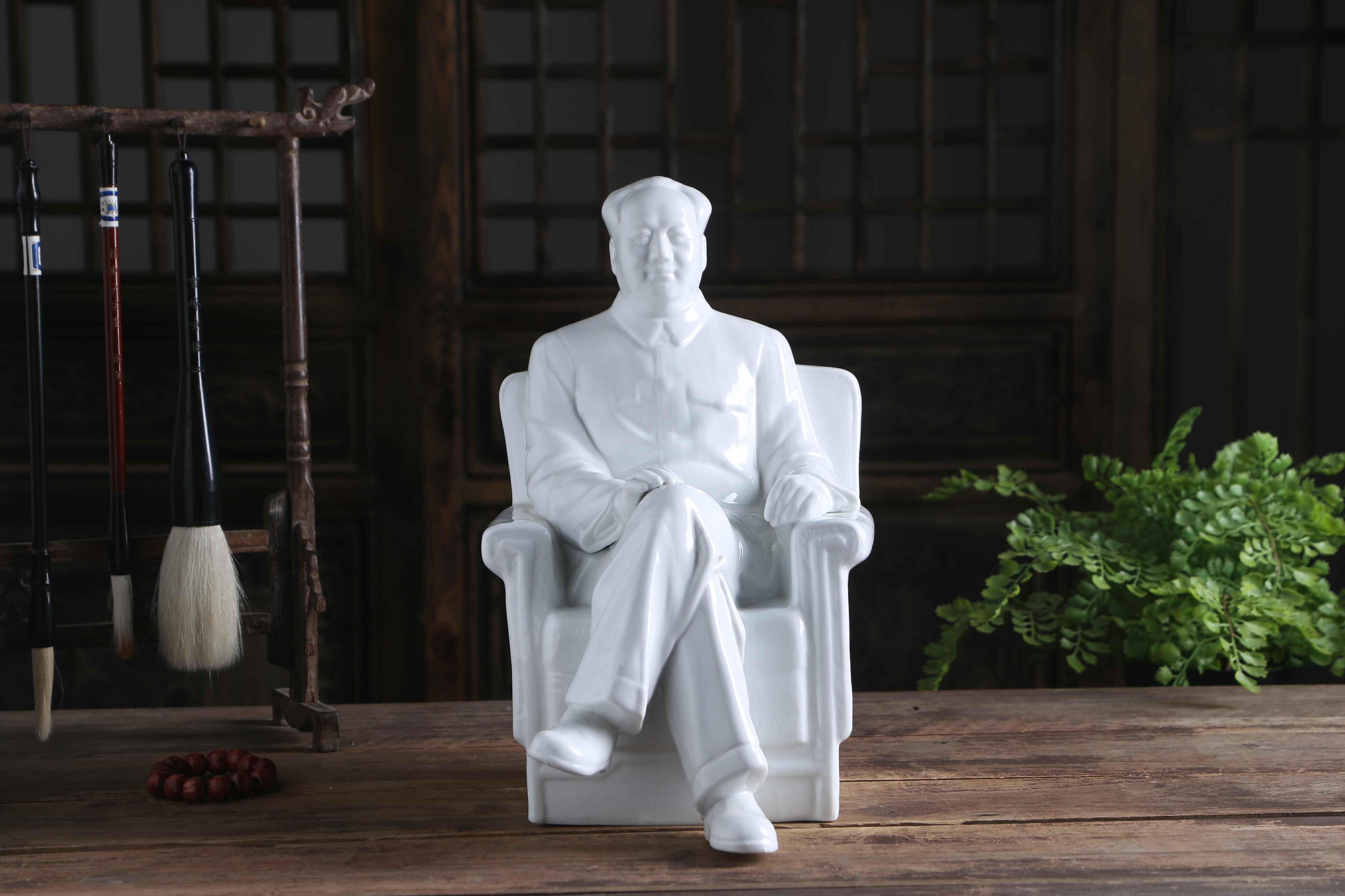 景德鎮毛主席陶瓷像 全身像毛主席像擺件頭像 陶瓷雕塑像辦公室桌
