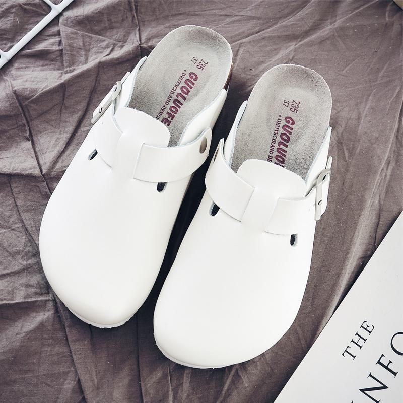 果洛菲包頭拖鞋男軟木拖鞋休閒平底懶人拖半拖情侶白色拖鞋博肯鞋