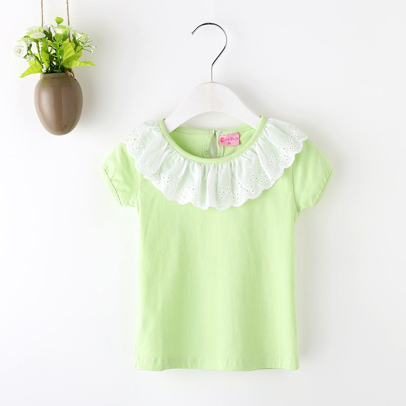 夏装女宝宝短袖T恤纯棉荷叶领纯色打底衫1岁婴儿2-8岁翻领上衣