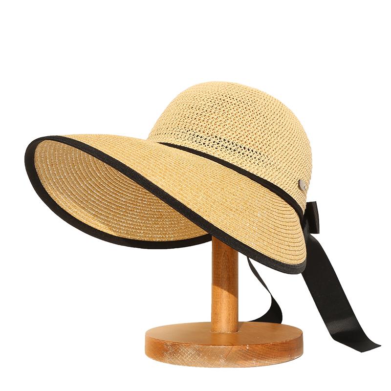 韩版空顶草帽女夏天休闲百搭大沿遮阳帽可折叠户外出游防晒太阳帽