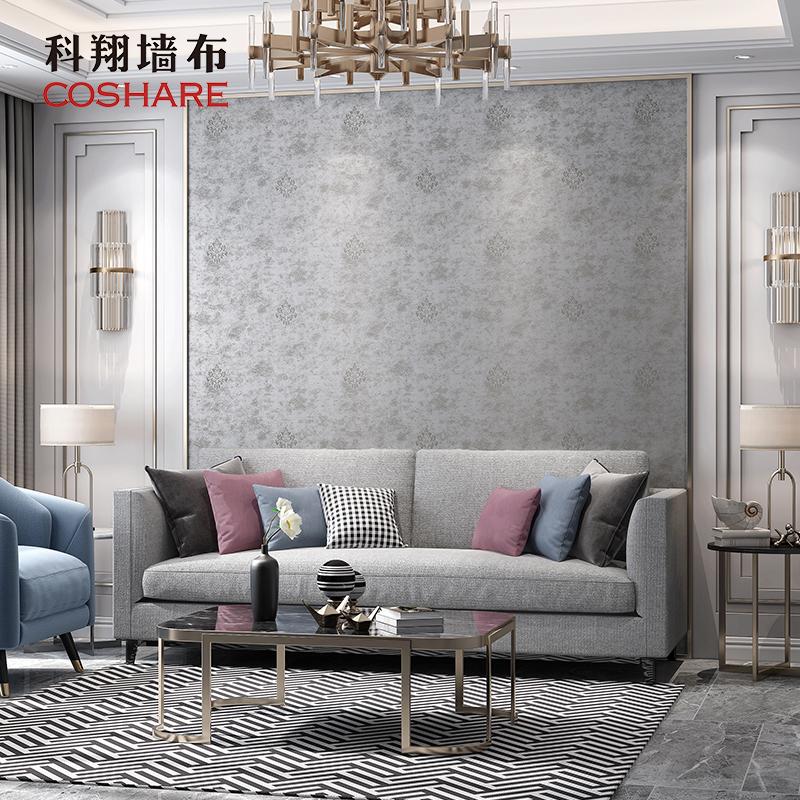 塞纳 壁布 背景墙布美式 精致提花墙布客厅 科翔欧式墙布无缝卧室