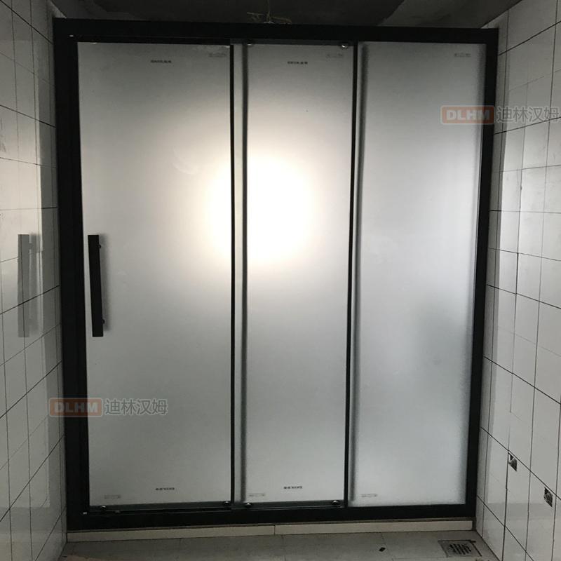 三趟门干湿分离隔断淋浴房三折页淋浴屏风浴室隔断玻璃门两活一固