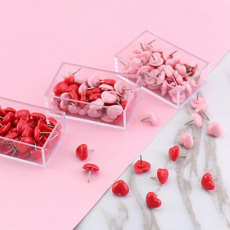 创众 爱心工字钉塑料图钉盒装50枚环保按钉软木图钉照片墙钉彩色