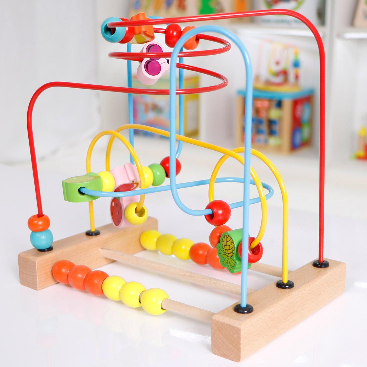 3-6-10个月0-1岁蒙氏早教益智玩具婴儿女宝宝儿童串珠绕珠穿珠子
