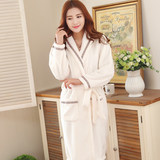 Nightgown female long flannel men and women thick spring and autumn beauty salon bathrobe couple pajamas coral velvet hotel bathrobe