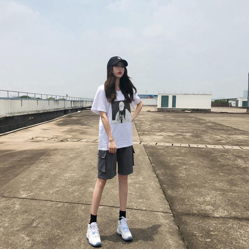工装短裤女夏季2020年新款宽松直筒潮ins中裤高腰港味运动五分裤