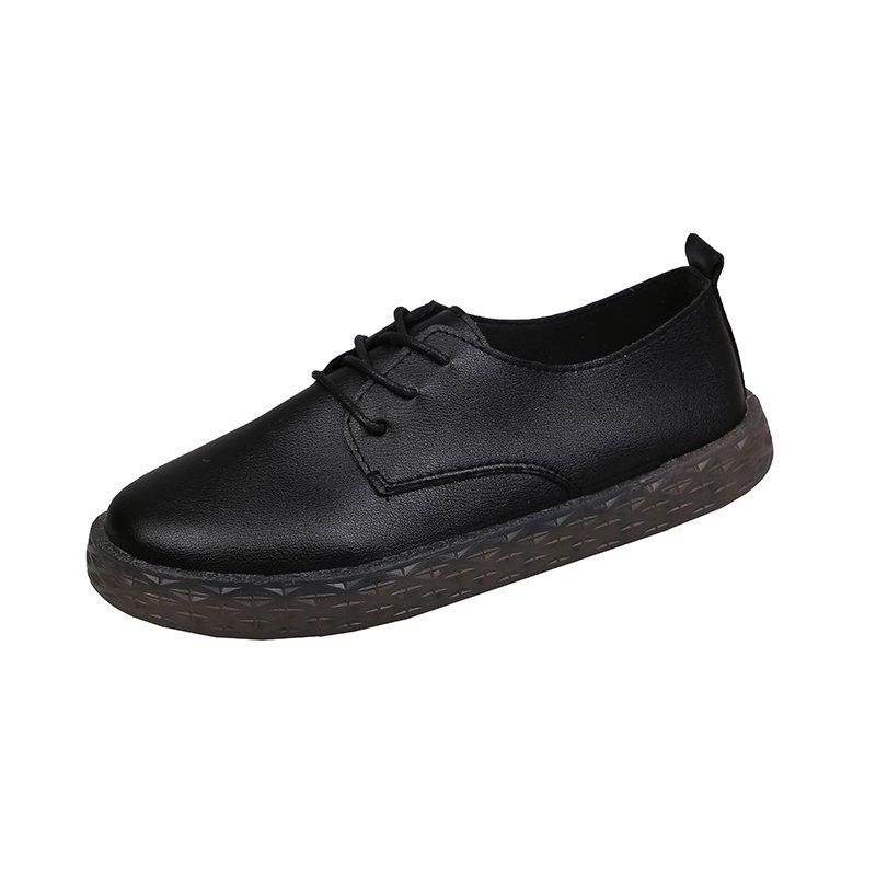 肯德基黑色工作鞋女软底舒适平底久站防滑妈妈鞋女士上班单鞋皮鞋