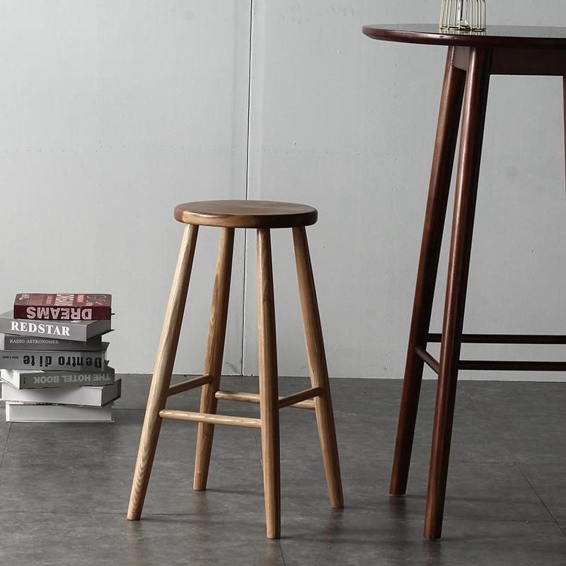 北歐實木圓凳簡約家用胡桃木日式高腳凳休閑復古吧臺凳卯榫家具