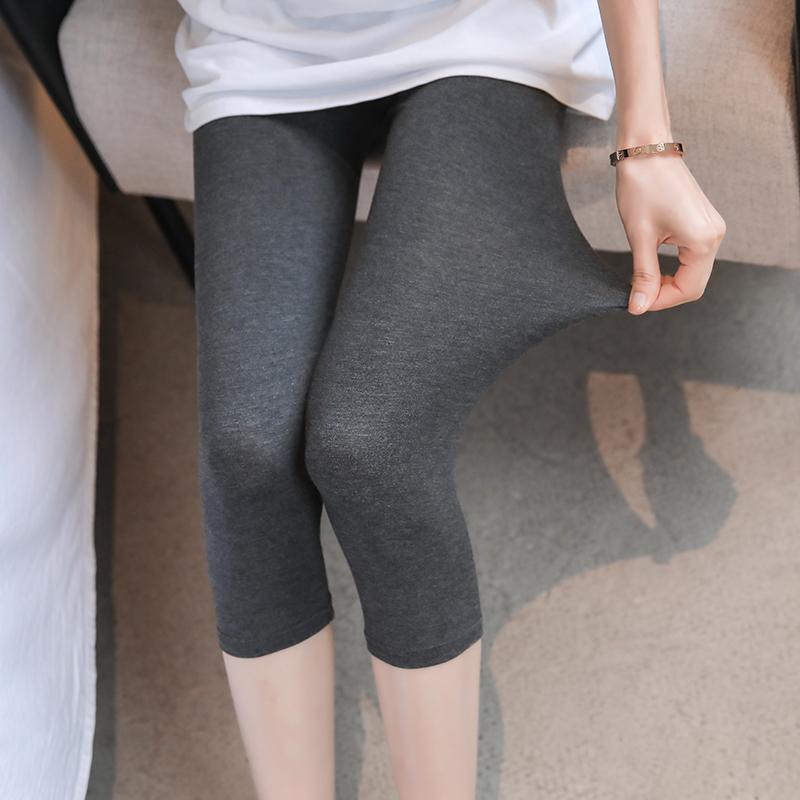 莫代尔五分七分打底裤女夏季薄款弹力显瘦长款安全裤紧身大码短裤 No.2