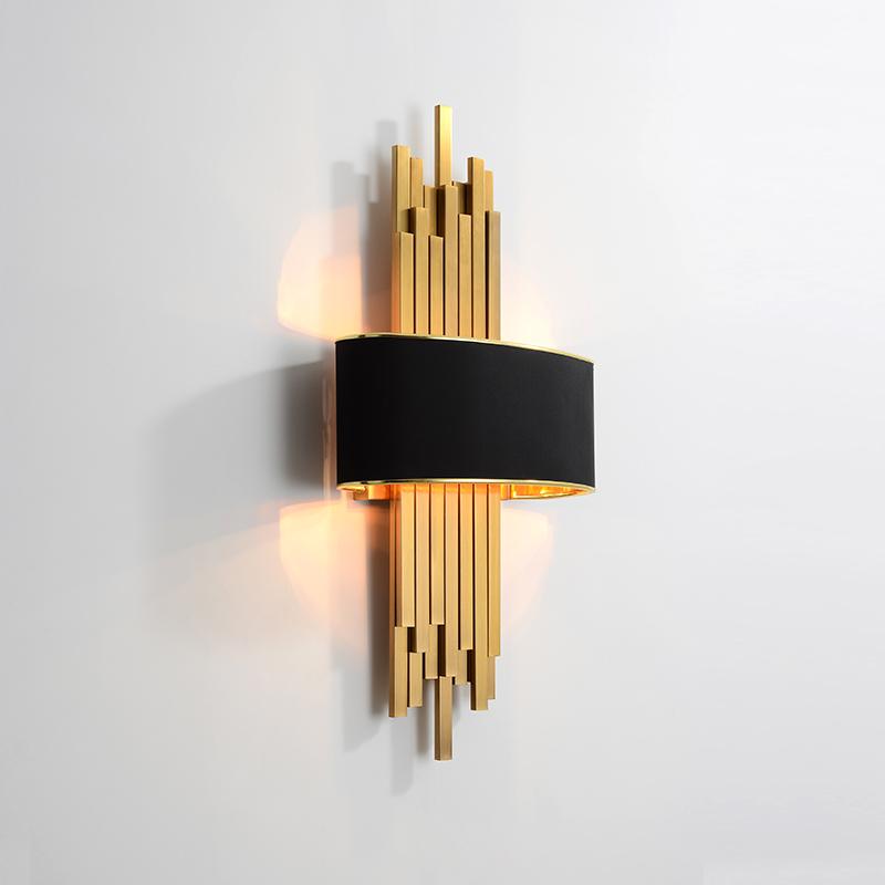 极简后现代客厅背景墙简约轻奢金色别墅酒店设计师样板房卧室壁灯