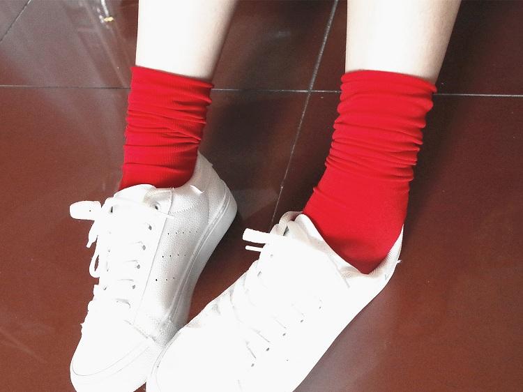 天鹅绒堆堆袜 糖果色卷边长袜春夏季薄款长筒袜女韩版百搭韩国潮