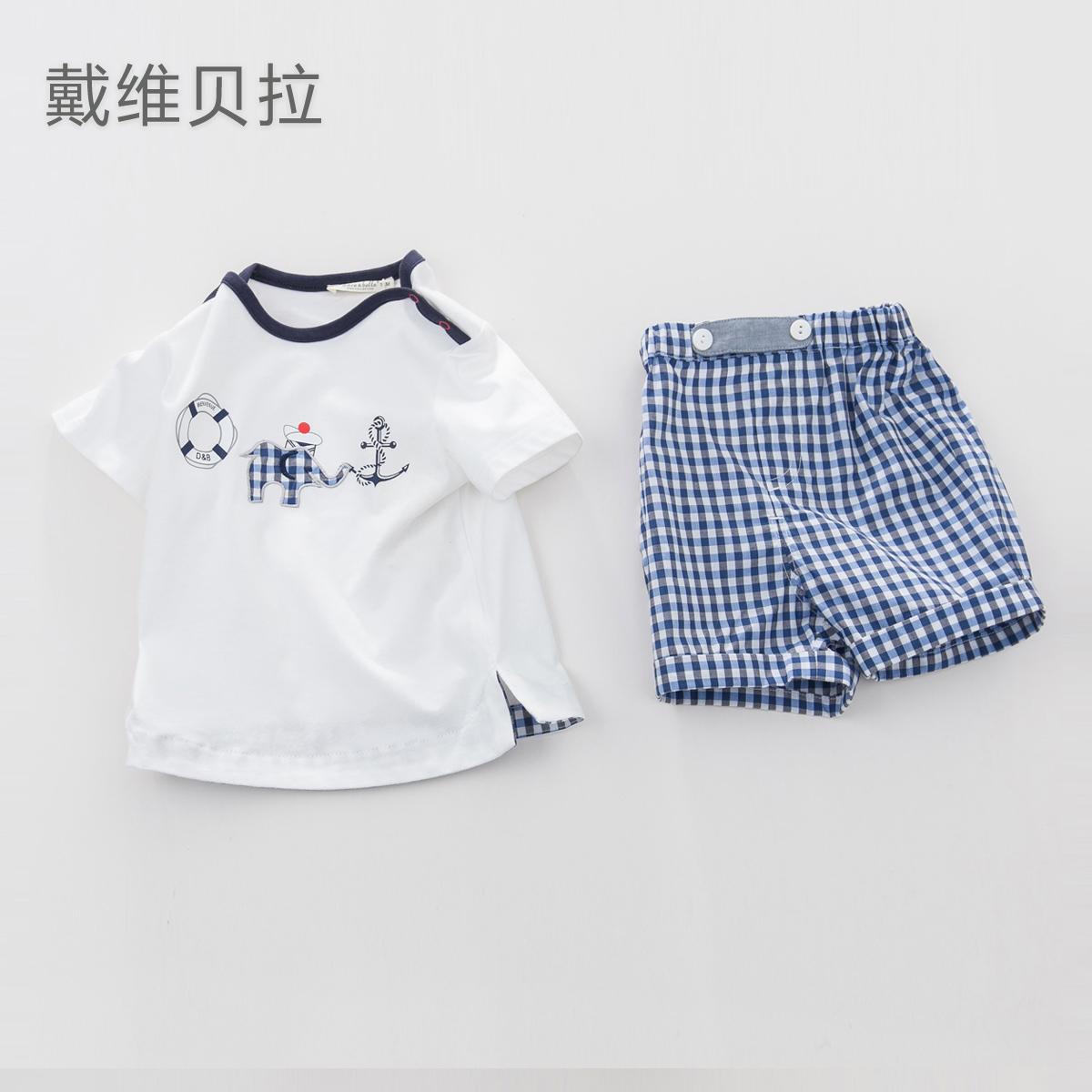 戴維貝拉davebella兒童套裝  男女童夏裝短袖T恤衫格子短褲兩件套