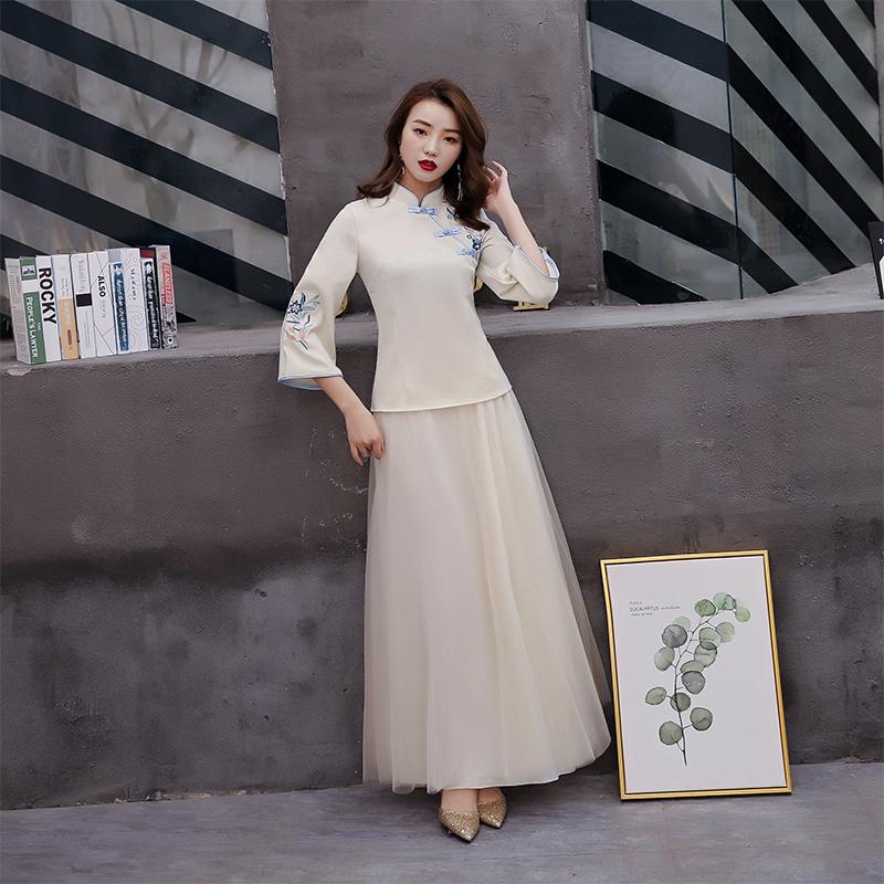 中式伴娘服女2019新款春夏姐妹裙中国风伴娘团礼服复古民国风旗袍