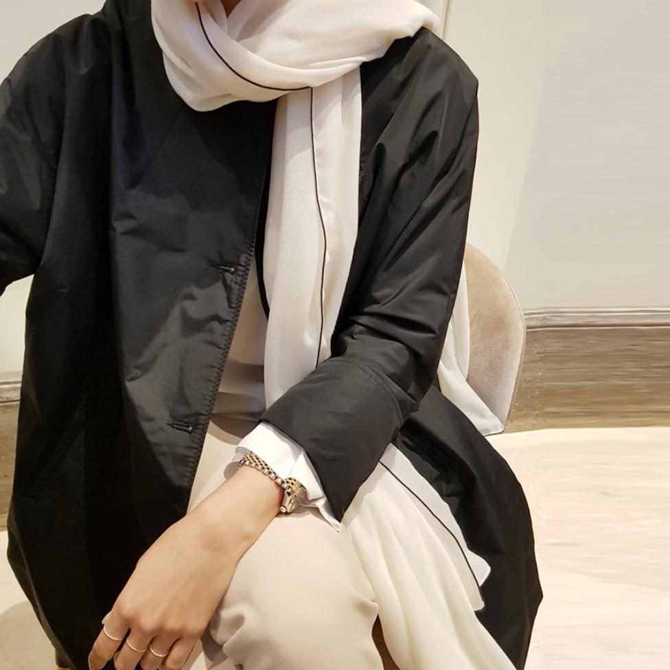 圆领无领风衣宽松大码气质上衣 2018 春秋外套女黑色中长款新款时尚