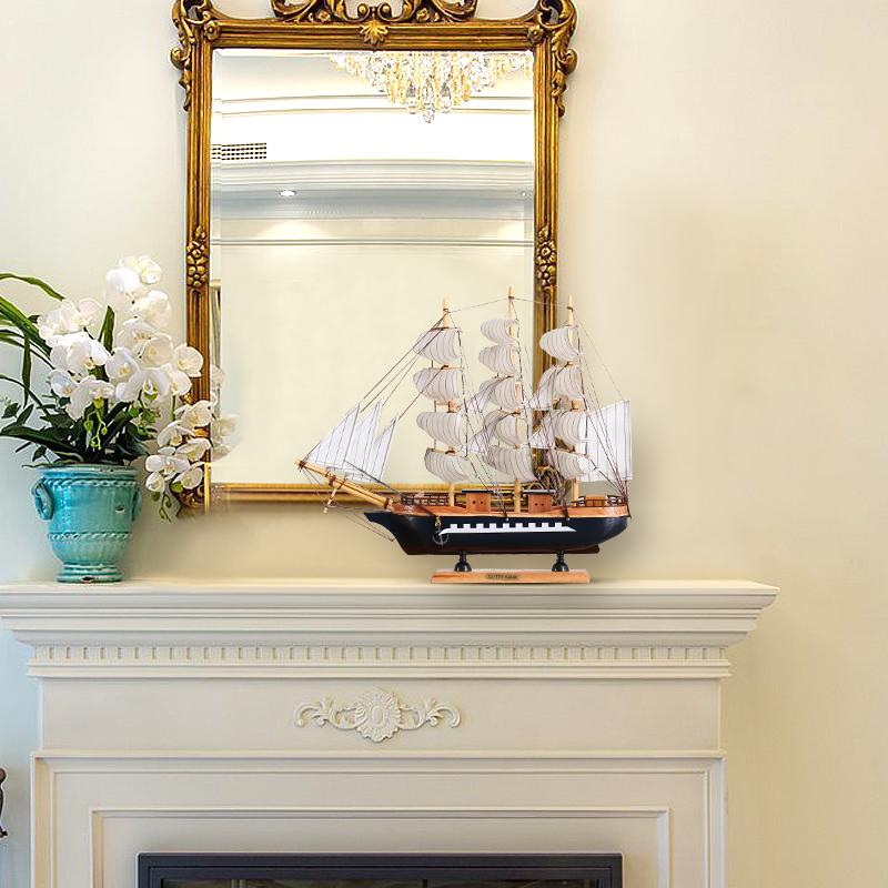 一帆风顺帆船木船模型客厅家居酒柜电视柜欧式办公桌摆件结婚礼物