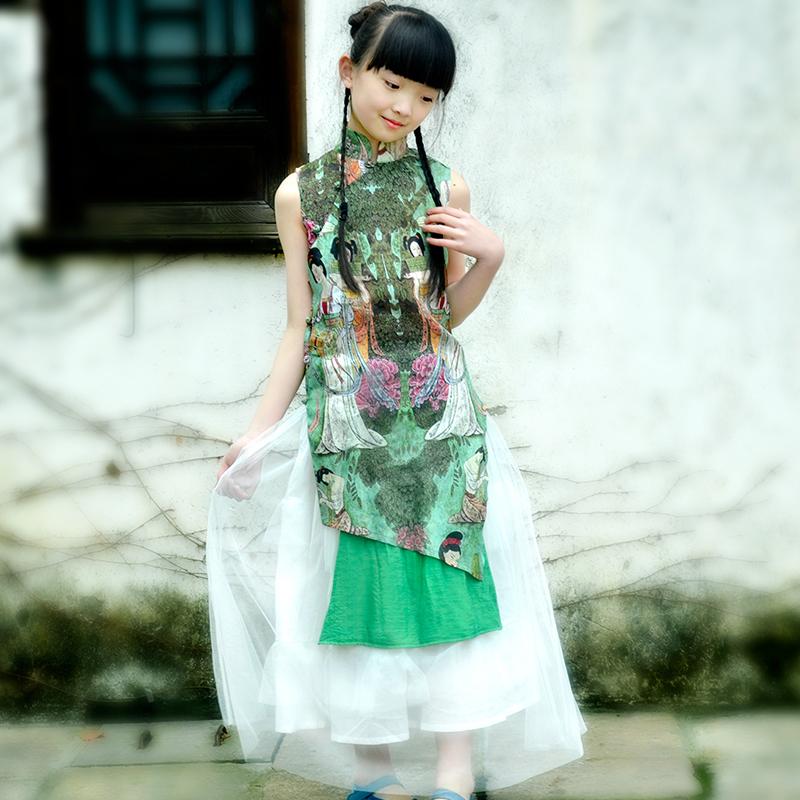 芭豆鼠:亲子仕女图不等摆无袖中式上衣旗袍 白色蓬蓬纱裙套装
